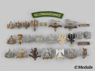 United Kingdom. A Lot of Twenty-Five British Army Badges and One Shoulder Flash