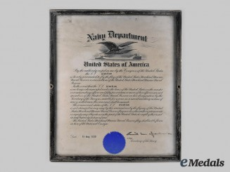 United States. A Framed Document Authorizing the S.S. Aleutian to Fly the Flag of the United States Merchant Marine Naval Reserve 1930
