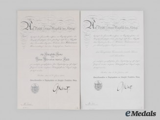 Germany, Imperial. Award Documents to Kapitän zur See and Marineattaché Widenmann, c.1917