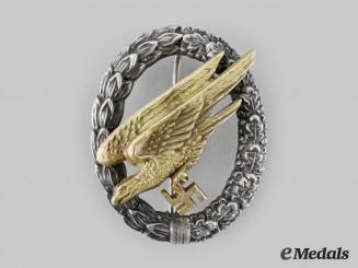 Germany, Luftwaffe. A Fallschirmjäger Badge, Type D, by C.E. Juncker