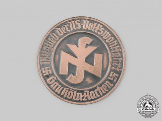 Germany, NSV. A National Socialist People's Welfare (NSV) Köln-Aachen Membership Door Plaque