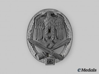 Germany, Wehrmacht. A General Assault Badge, Special Grade for 25 Engagements, by Rudolf Karneth & Söhne