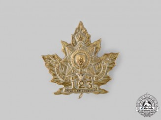 "Canada, CEF. A 123rd Infantry Battalion ""Royal Grenadier Overseas Battalion 10th Regiment"" Cap Badge"