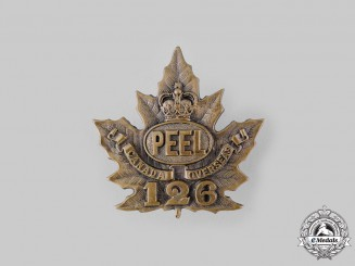 "Canada, CEF. A 126th Infantry Battalion ""Peel Battalion"" Cap Badge, by Ellis Bros, c.1916"