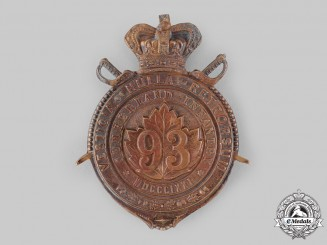 Canada, Dominion. A 93rd Cumberland Battalion of Infantry Helmet Plate, c.1890