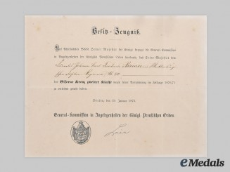 Germany, Imperial. An Award Document for an 1870 Iron Cross, II Class, to Feldwebel Johann Carl Friedrich Riemer
