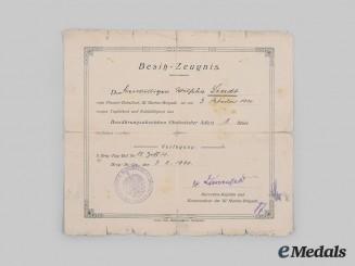 Germany, Weimar Republic. An Award Document for a Silesian Eagle, I Class