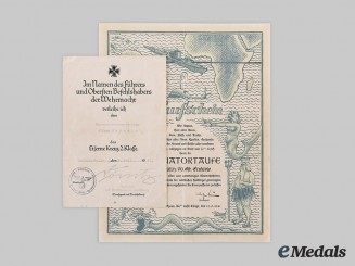 Germany, Kriegsmarine. A Rare Set of Award Documents to Alfons Enderle, Signed by Dönitz