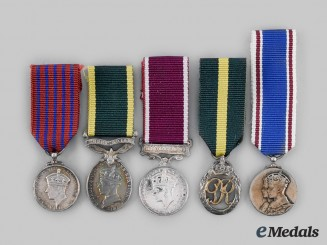 United Kingdom. Five King George VI Era Miniature Service Awards