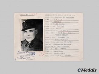 Germany, SS. A HIAG Missing Persons Report for SS-Schütze Friedrich Preuss