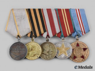 Russia, Soviet Union. A Second War Veteran's Medal Bar
