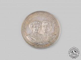 Braunschweig, Duchy. A Duke Ernst August and Duchess Viktoria Luise Silver Coronation Medallion