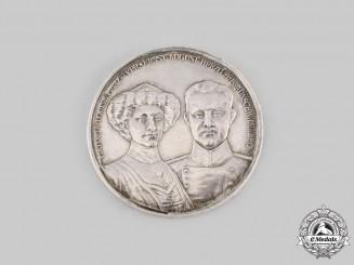 Braunschweig, Duchy. A Duke Ernst August and Duchess Viktoria Luise Silver Coronation Medallion, by L. Christian Lauer