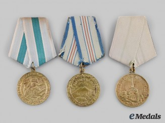 Russia, Soviet Union. Three Second War Defence Medals