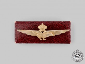 Italy, Kingdom. A Royal Italian Air Force Pilot's Badge with Case , c.1930