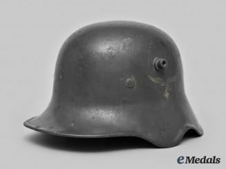 Germany, Luftwaffe. An M18 Transitional Luftwaffe Ear Cut Out Helmet