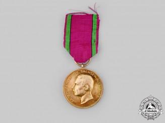 Saxe-Altenburg, Duchy. A Saxe-Ernestine House Order, Golden Merit Medal, c.1910