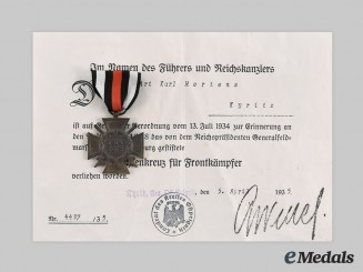 Germany, Third Reich. An Honour Cross of the World War 1914/1918, with Award Document to Karl Mertens