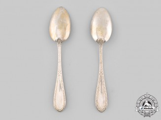 Saxe-Weimar-Eisenach, Grand Duchy. A Pair of Silver Teaspoons by M.H. Wilkens & Söhne