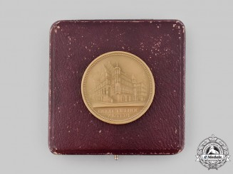 Germany, Weimar Republic. A Free State of Braunschweig Chamber of Commerce Faithful Labour Medal, with Case, by Carl Poellath