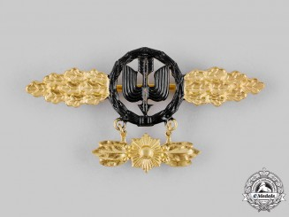 Germany, Luftwaffe. A Night Fighter Squadron Clasp, Gold Grade with Pendant, Post-1957 Reissue