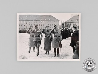 Germany, Wehrmacht. A 1937 Photograph of Officers on Review at Weißenfels Barracks