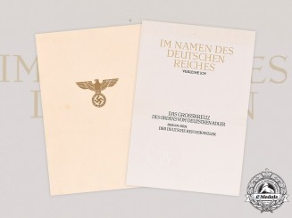 Germany, Third Reich. An Unissued Award Document for a Grand Cross of the Order of the German Eagle