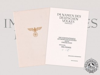 Germany, Third Reich. An Unissued Award Document for an II Class Cross of the Order of the German Eagle