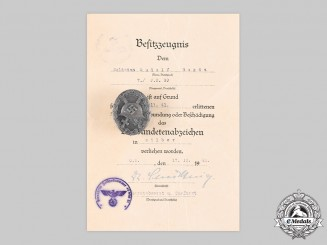 Germany, Wehrmacht. A Wound Badge, Silver Grade by the Vienna Mint, with Award Document to Rudolf Bogda