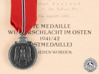Germany, Wehrmacht. An Eastern Front Medal, with Award Document to Hellmut Kahlund, by Deschler & Sohn