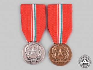 Italy, Republic. Two Social Service Medals, Silver and Bronze Grades
