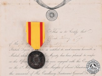 Spain, Kingdom. A San Sebastian Medal & Bestowal Document to Asst. Surgeon Alfred King, 7th Infantry Regiment of the British Legion, 1836