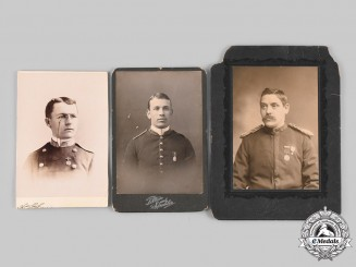 United States. Three Vintage Officer Studio Photographs