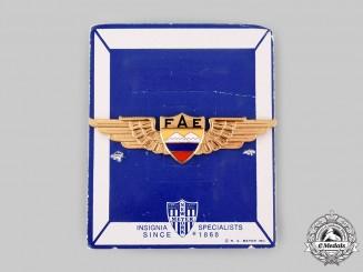 Ecuador, Republic. An Air Force Pilot Badge, by N.S.Meyer, New York