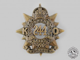 "Canada, CEF. A 244th Infantry Battalion ""Kitchener's Own"" Cap Badge, c.1915"