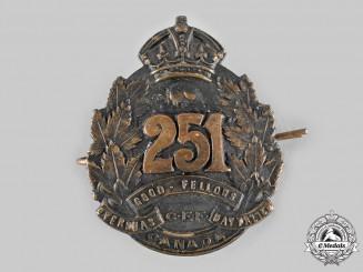 """Canada, CEF. A 251st Infantry Battalion """"Good Fellows Battalion"""" Cap Badge, by Stanley & Aylward, c.1917"""