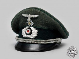 Germany, Heer. A Gebirgsjäger Officer's Visor Cap by Robert Lubstein (Erel)