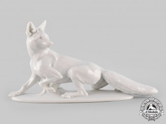 Germany, SS. A SS-Allach Stalking Fox Figurine by Theodor Kärner