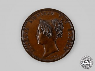 Bavaria, Kingdom. A Queen Therese Commemorative Medallion by Carl Friedrich Voigt