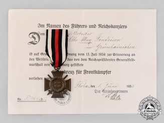Germany, Third Reich. An Honour Cross of the World War 1914/1918, with Award Document to Otto Findeisen