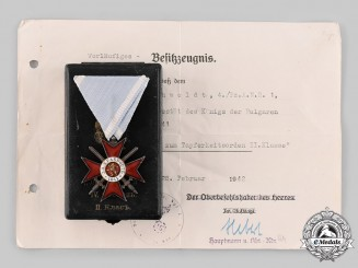 Bulgaria, Kingdom. An Order of Military Bravery, IV Grade II Class with Case, to Obergefreiter Rehwoldt