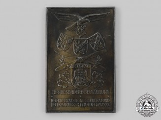 Germany, Luftwaffe. A 1942 Honour Plaque to Oberstleutnant Kurt Nabakowski