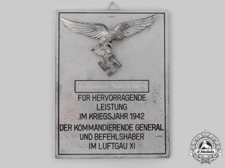 Germany, Luftwaffe. An Honour Plaque of Field Air Division XXX
