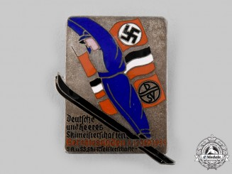 Germany, Third Reich. A 1934 Berchtesgaden Heer, SA, and SS Ski Competition Commemorative Badge, by Carl Poellath