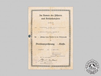 Germany, Wehrmacht. A Pair of Award Documents to Sergeant Wilhelm Möhlenbruch, 1937