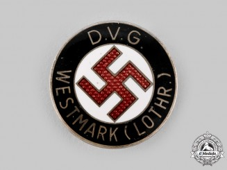 Germany, DVG. A Deutscher Volksgenossen Bund (DVG) Lorraine Region Membership Badge by Werner Redo