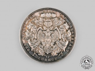 Lubeck, Free City. A SIlver Table Medal for Loyal Service, c.1905