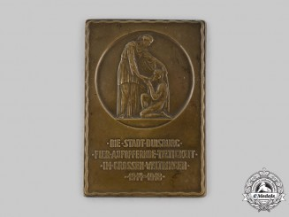 Germany, Weimar Republic. German Reich Plaque of the City of Duisburg for Self-Sacrificing Activity, c.1920.