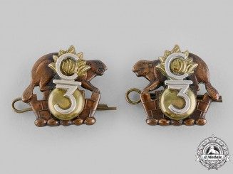 Canada, CEF. A 3rd Infantry Battalion Officer's Collar Badge Pair c.1916