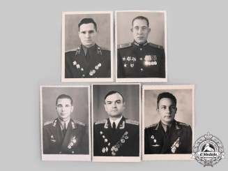 Russia, Soviet Union. Five Soviet Red Army and Air Force Officer Identification Photographs